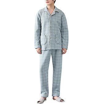 YANGFAN Herren Button Down Pyjama Set Langarm Oberteil und Lounge Boden