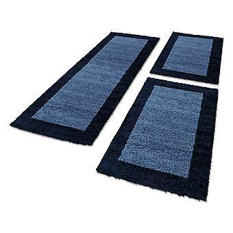 Bordure de lit tapis hautflor set de coureurs 3 pièces bordure modèle bleu marine