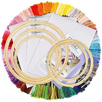 100 Pieces Embroidery Kit With Instructions, 100 Colors Threads