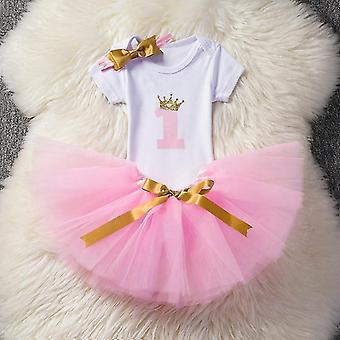 1 Jahr Baby Geburtstag Strampler + Tutu Kleid + Stirnband Einhorn Kleid