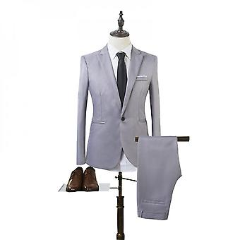 Hommes Business Formal Suit Set Slim Fit Blazer Manteau + Pantalon