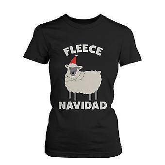 Fleece Navidad jul Graphic Tee - svart Holiday bomull T-Shirt