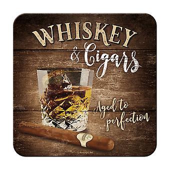 Whisky & cigarrer Metall Nostalgisk Underlägg