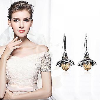 Indoor outdoor plants dancing bee earrings sterling silver queen bee dangle earrings for women teen