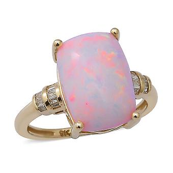 TJC Pink Opal Solitaire Ring for Women 9K Yellow Gold White Diamond 4.58ct(N)
