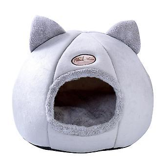 Opgraderet version af plys Nest Soft Semi-cirkulær Nest Yurt Kat eller Hund Bed Warm Nest