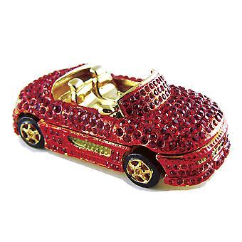 Convertible Sports Car Jeweled Pewter Trinket Box