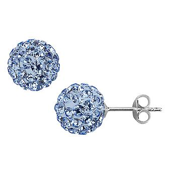 Blue Synthetic Crystal Stud Ball Earrings in Sterling Silver