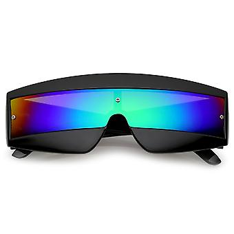 Futuristische breed tempel gekleurde spiegel Mono Lens Shield zonnebril 68mm
