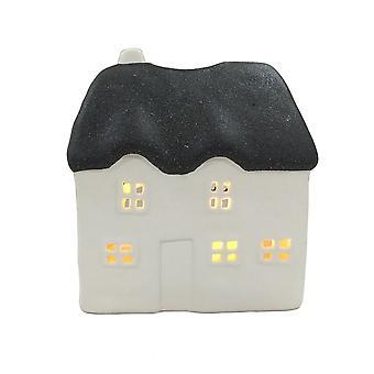 Licht-gloed rieten huis serviesje, zwart