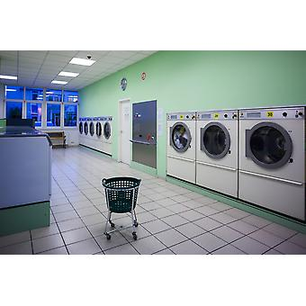 Interior of self-service laundry Darmstadt Hesse Germany Poster Print by Panoramic Images