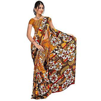 Chandani Georgette gedruckt Casual Sari Sari Bauchtanz Stoff