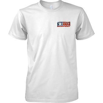 Myanmar Grunge Land Name Flag Effect - Kinder-Brust-Design-T-Shirt