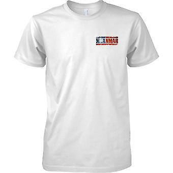 Myanmar Grunge landet navn flagget effekt - barna brystet Design t-skjorte