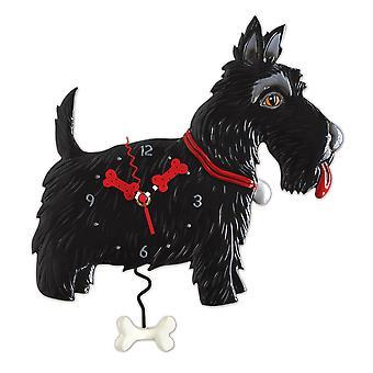 Allen mallit musta Scottie koira Pendulum seinäkello