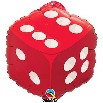 Qualatex 18 Inch Diamond Shaped Red Dice Design Foil Balloon