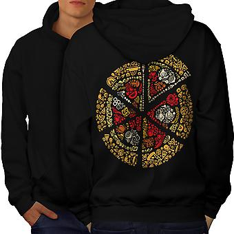 Pizza Slice Fast Mix Food Men BlackHoodie Back | Wellcoda