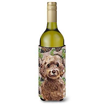 Garrafa de vinho Beverge isolador Hugger Cones de marrom Cockapoo pinho