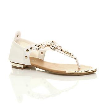 Ajvani womens flat stretch gold trim rose flower diamante toe post t-bar sandals