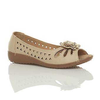 Ajvani womens lage hak plat wedge comfort zomer uitknippen van sandalen schoenen