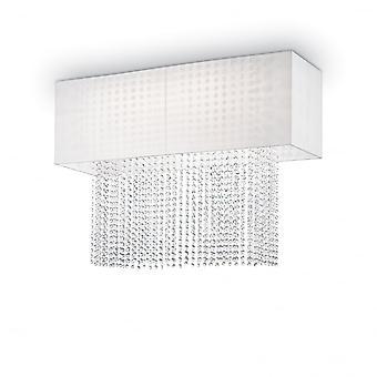 Ideal Lux Phoenix caixa branca sombra luz com cascata de cristal do teto