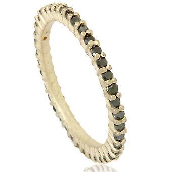 1 / 2ct Rohdiamant Black Prong Set Eternity Ring 14K Gelbgold