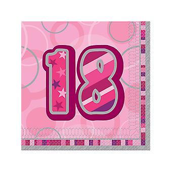 Födelsedag Glitz rosa - 18 födelsedag - lunch servetter