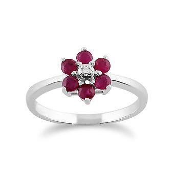 9kt hvidguld 0,59 ct naturlige Ruby & blomsteragtige klynge diamantring