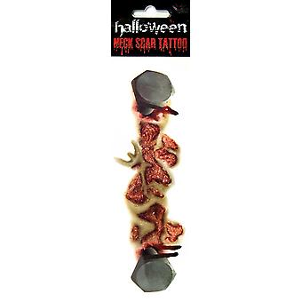 Haavan tatuointi ruuvit Halloween kauhu ruuvi kaulan haavan verta mätä