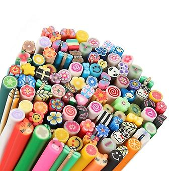 100 Pcs 3D DIY Nail Art Fimo Canes/Rods Sticker Tips - Decoration Colour Clay