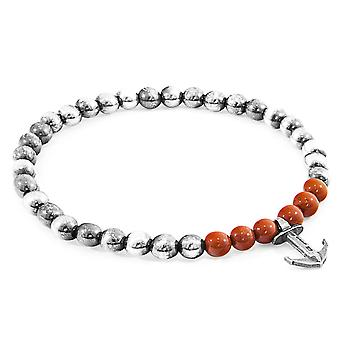 Anchor & Crew Red Jasper Keel Silver and Stone Bracelet