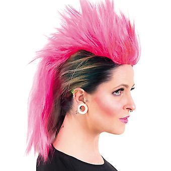 Peruca punk Iroquois rosa