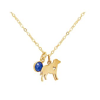 GEMSHINE Labrador necklace, dog, sapphire 925 silver, gold plated, rose pet