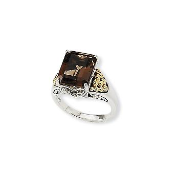 925 Sterling Silver finish With 14k 4.00Smokey Quartz Ring Jewelry Gifts for Women - Ring Size: 6 to 8