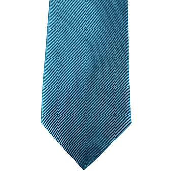 David Van Hagen Diagonal Ribbed Tie - Petrol Blue