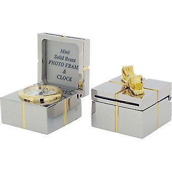 Cadeau tijd producten Gift Box en buigen miniatuur klok - zilver/goud