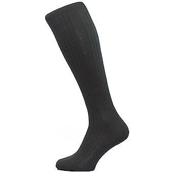 Pantherella Kangley Rib Over de kalf Merino wollen sokken - zwart