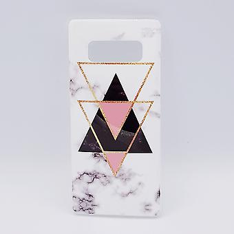 For Samsung Note 8 case-black marble triangles & pink