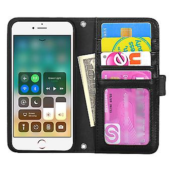 TOP left-handed wallet case iPhone 8 Plus/7 Plus/6 Plus Black
