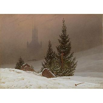 Winter landscape with Church, Caspar David Friedrich, 33x44cm