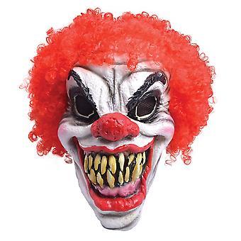 Payaso miedo máscara, pelo rojo, espuma látex