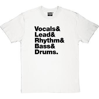 Voz y plomo y ritmo & Bass & Drums line hombres camiseta