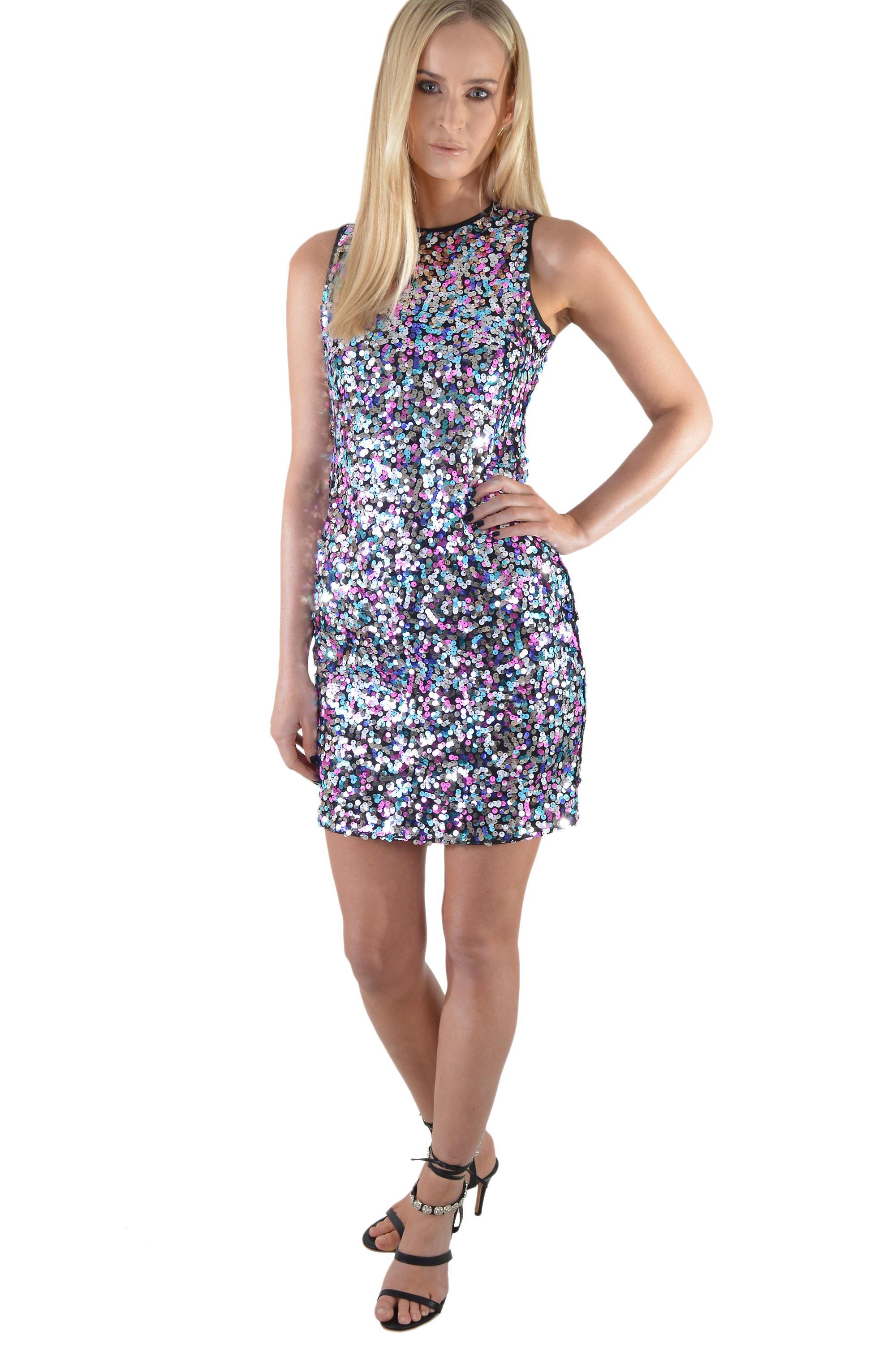 Lovemystyle Multi-Colour Sequin Short Vest Dress