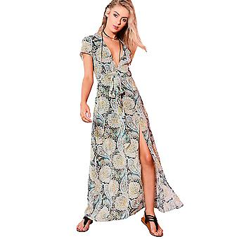 WYLDR Paisley Printed V Neck Maxi Dress With Front Split
