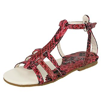 Cutie Flat 3 Strap Vamp Sandal with Ankle Strap