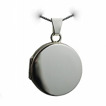 9ct White Gold 20mm plain flat round Locket with a curb Chain 20 inches
