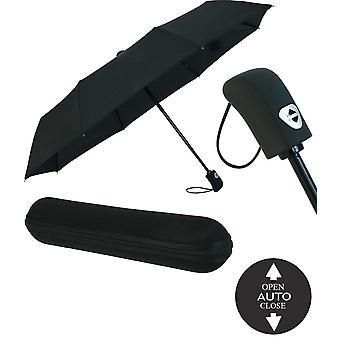 Automatic Wind-resistant Umbrella With Zip Case - Black - For Women and Men