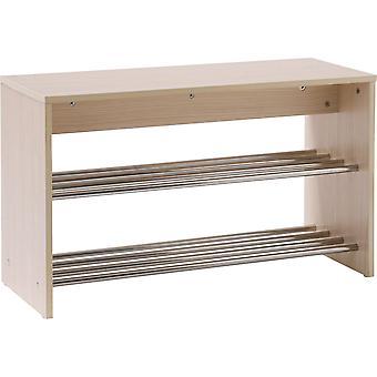 Rejilla - mueble de almacenamiento zapato - roble claro / plata