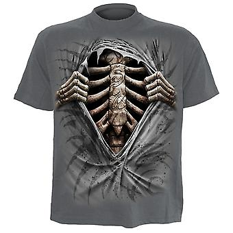 Spiral Direct Gothic SUPER BAD - T-Shirt Charcoal Skeleton Tribal UnDead Rips