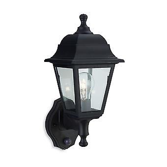 Firstlight-1 lys udendørs Wall Lantern-uplight med PIR Black resin IP44-8400BK